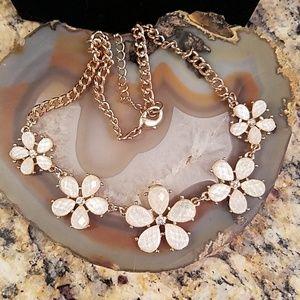L Conrad Opaque white Flower w rhinestone necklace